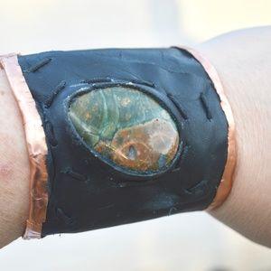 Copper Leather Rainforest Jasper Cuff Bracelet